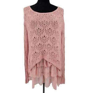 V Cristina Light Pink Sweater w/ Ruffle Underlay